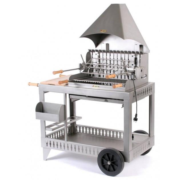 barbecue charbon le marquier mendy inox sur chariot avec hotte. Black Bedroom Furniture Sets. Home Design Ideas