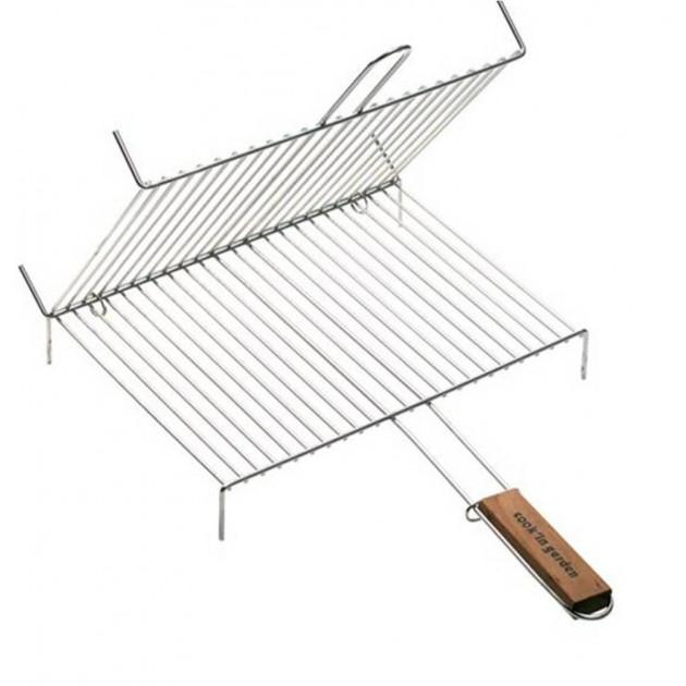Grille barbecue double sur pieds 40x30 cm