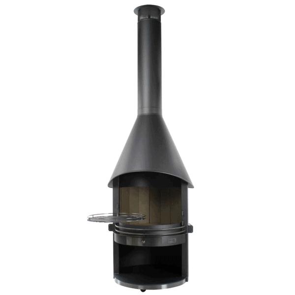 Cheminee d 39 exterieur feu chic design noire for Cheminee exterieur weber