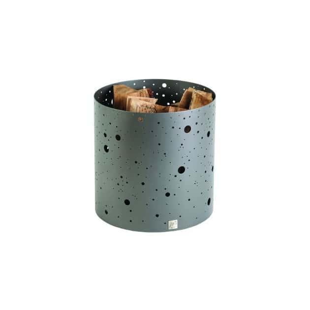 Corbeille a bois DIXNEUF Voie lactee gris acier 40 X 40 cm