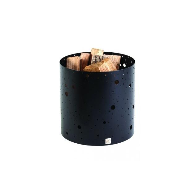 Corbeille a bois DIXNEUF Voie lactee noir givre 40 X 40 cm