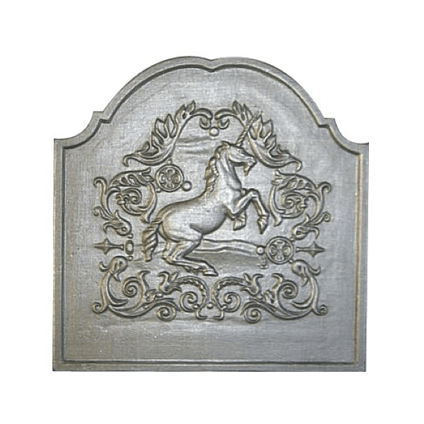 plaque en fonte licorne 50 x 50 cm plaque fonte cheminee. Black Bedroom Furniture Sets. Home Design Ideas