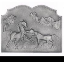 Plaque fonte Les chevaux 63 x 50 cm
