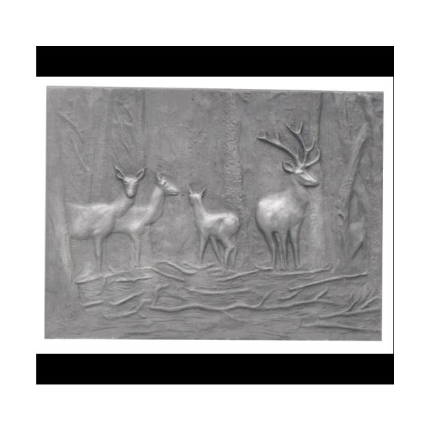 Plaque fonte Les biches 67 x 30 cm