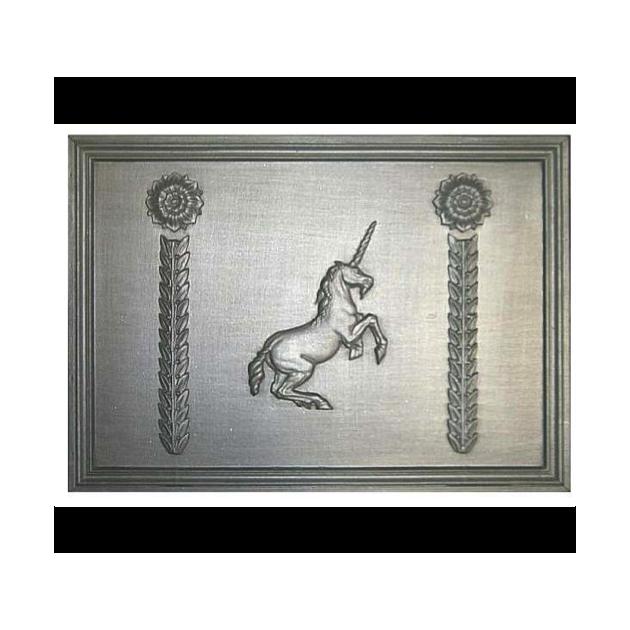 Plaque fonte Licorne aux rosaces 70 x 50 cm
