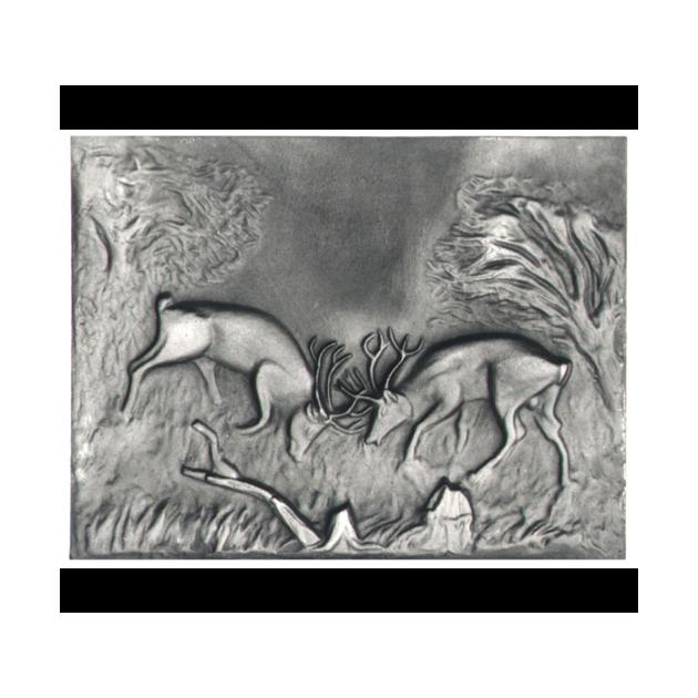Plaque en fonte Combat de cerfs 70 x 53 cm