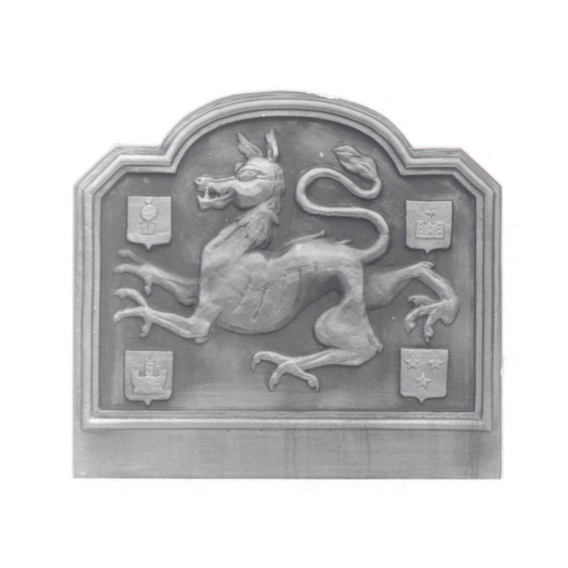 Plaque fonte Bete du gevaudan 74 x 66 cm