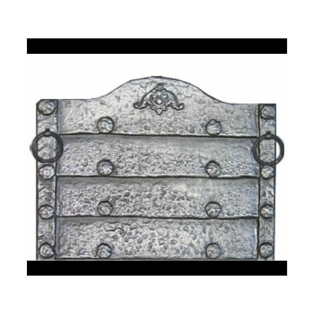 Plaque fonte Rustique avec anneaux 71 x 57 cm