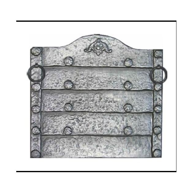 Plaque fonte Rustique avec anneaux 73 x 69 cm