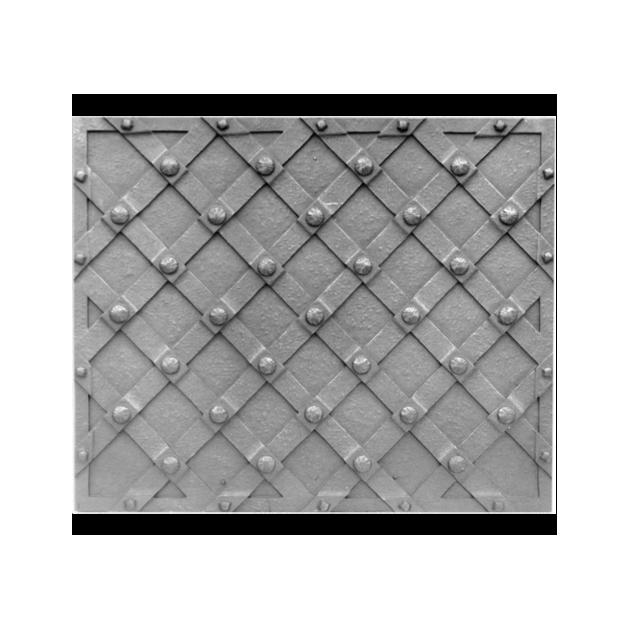 Plaque fonte Damiers a clous 110 x 90 cm