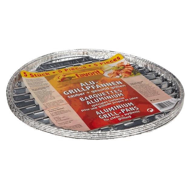 5 plats en aluminium ronds pour barbecue