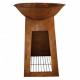 Brasero Esscher Design cortene avec stockage bois L diametre 75