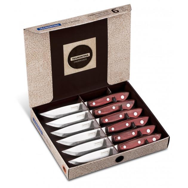 Coffret 6 couteaux à viande rouge Tramontina
