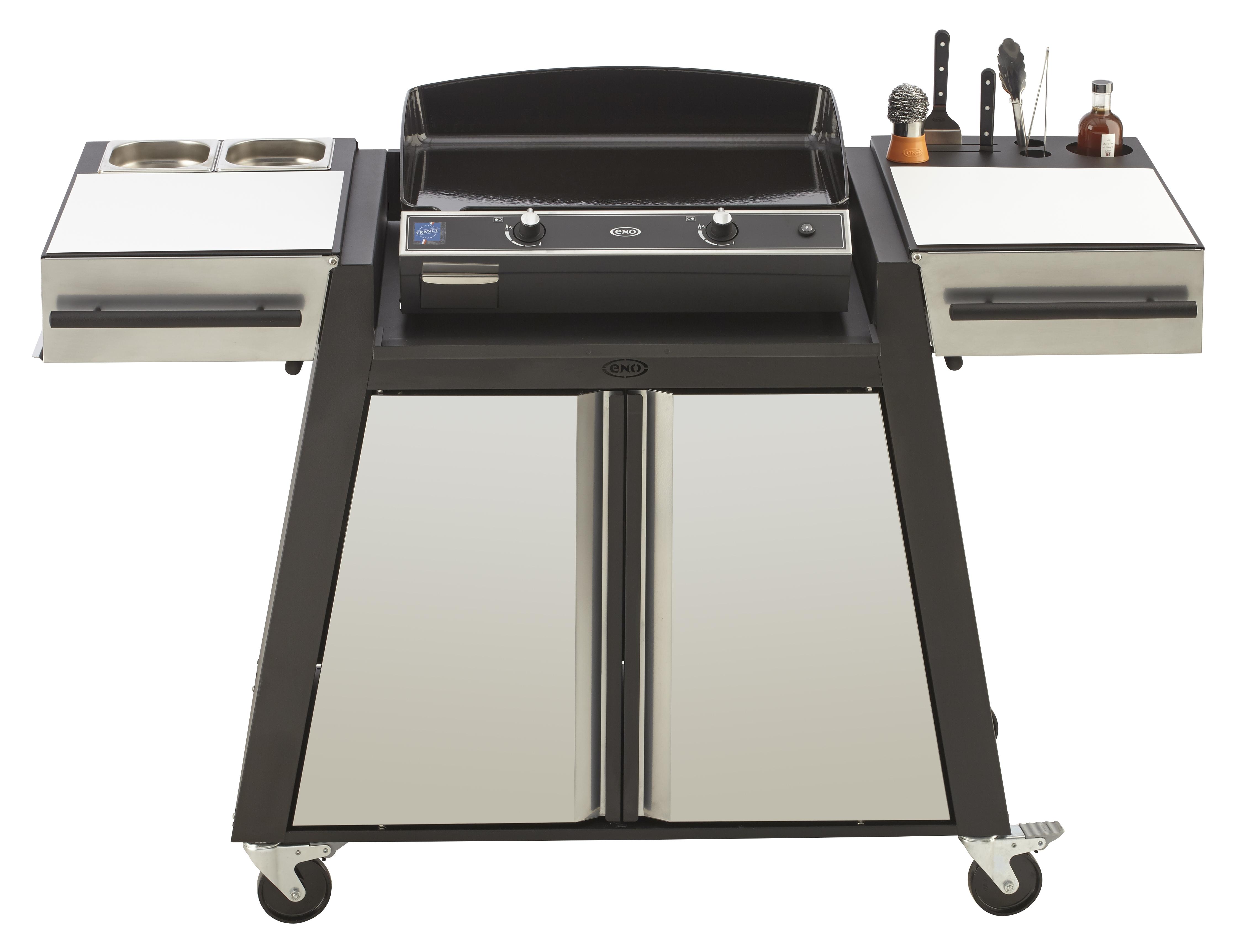 chariot-bistrot-noir-gris-metal-pour-plancha-eno-60 Frais De Table Basse Trocadero Des Idées