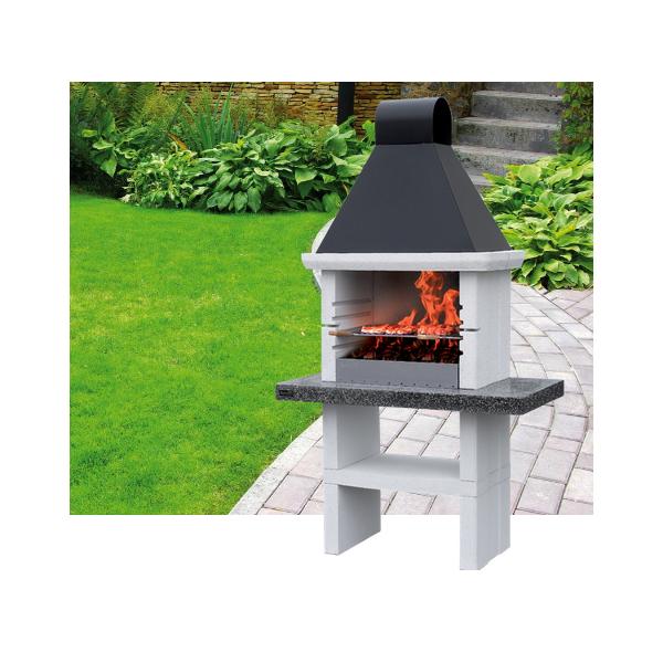 Le mod le chicago un barbecue fixe charbon de bois bois for Barbecue exterieur fixe