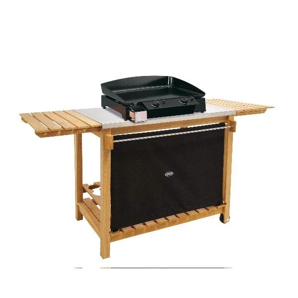 La desserte pour plancha eno universelle en bois et inox for Table pour plancha inox