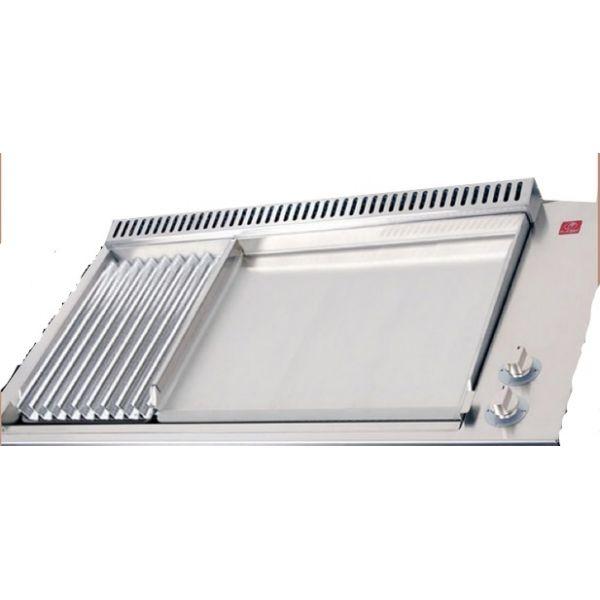 Plancha 55 et grill avec l 39 accessoire plancha le couvercle - Plaque grill encastrable ...