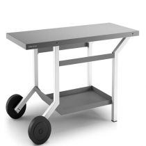 Table Roulante Acier Anthracite et Blanc Mat pour Plancha Forge Adour