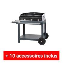 Pack plus plancha gaz Le Marquier Baia 75 acier sur desserte exclusive acier