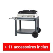 Pack plus plancha gaz Le Marquier Baia 75 inox sur desserte exclusive acier