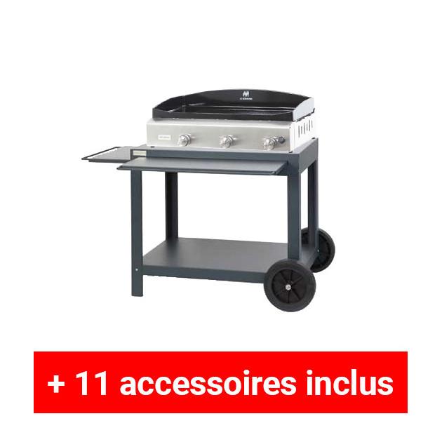Pack plus plancha gaz le marquier baia 75 inox sur for Housse pour barbecue gaz