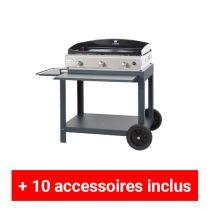 Pack plus plancha gaz Le Marquier Amalia 75 inox sur desserte exclusive acier