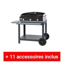 Pack plus plancha gaz Le Marquier Amalia 75 acier sur desserte exclusive
