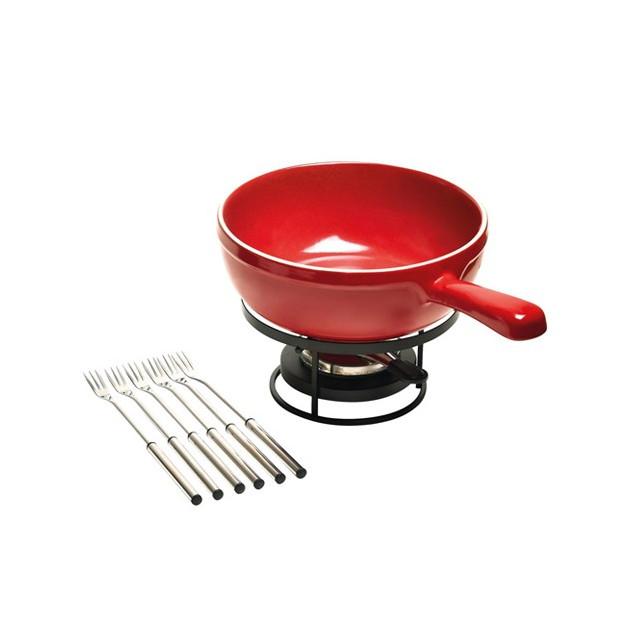 Service à fondue Emile Henry en céramique rouge