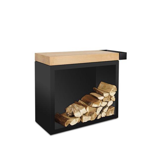 Butcher block storage acier noir Ofyr 45-90-88 plan de travail bois de caoutchouc