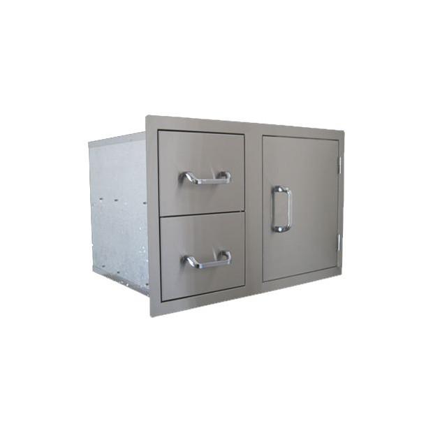 Combo tiroir double Beefeater avec porte en inox