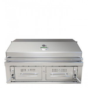 Barbecue hybride encastrable gaz et charbon Sunstone EMCHDZ42 inox