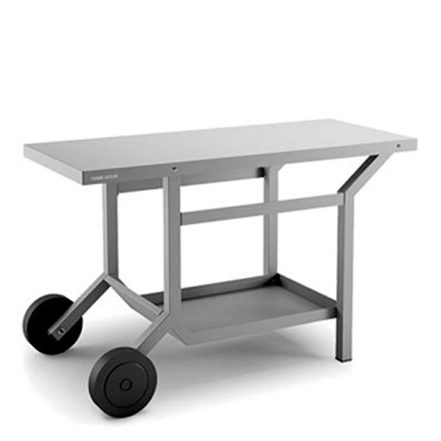 TABLE ROULANTE ACIER ANTHRACITE MAT POUR PLANCHA