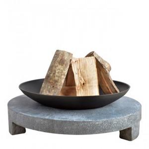 Braséro à bois sur table granito ronde fonte
