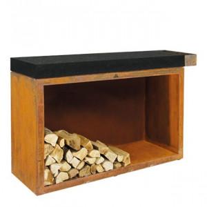 Rangement à bois sous plan de travail Ofyr 45-135-88 acier corten céramique anthracite
