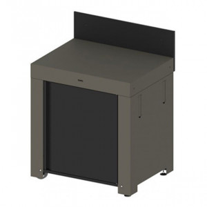Module plan de travail avec porte et crédence ENO acier galvanisé gris taupe