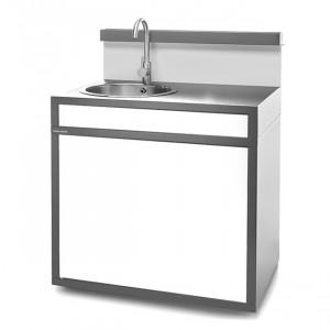 Support fermé évier Forge Adour acier gris anthracite et blanc mat