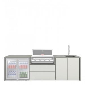 Meuble Fresco pour Signature 4 feux encastrable & réfrigérateur 2 portes & évier