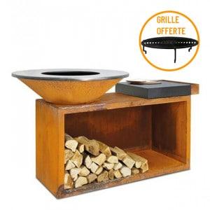 Braséro à bois plancha Ofyr Island 100 Corten billot céramique