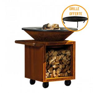 Braséro à bois plancha Ofyr Storage 100 Pro Corten