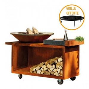 Braséro à bois plancha Ofyr Island 100 Pro Corten billot céramique anthracite