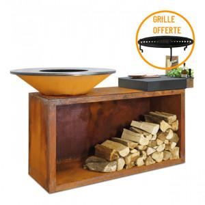 Braséro à bois plancha Ofyr Island 85 Corten billot céramique