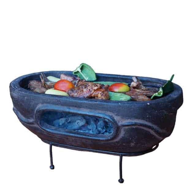 Barbecue de table Aztec ovale 59 x 33 cm - Marron