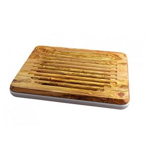 Planche à pain Berard Millenari blanc avec sac et cire 46 x 36 cm olivier