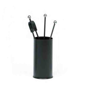 Serviteur cheminée seau rond 3 ustensiles noir boules inox