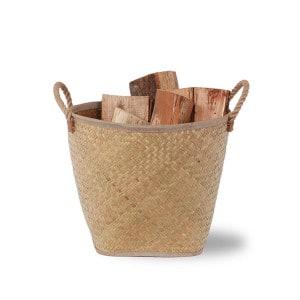 Panier à bois Corda beige