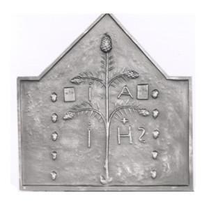 Plaque fonte cheminée décorée Arbre de vie 100 x 105 cm