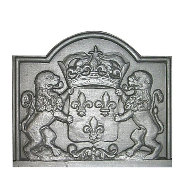 Plaque fonte cheminée décorée Lions & fleurs de lys 76 x 65 cm