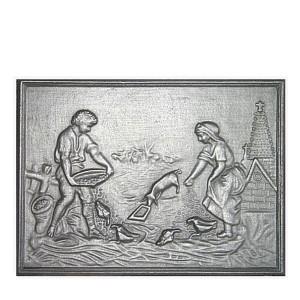 Plaque fonte cheminée décorée La basse cour 67 x 48 cm