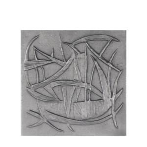 Plaque fonte cheminée ancienne Variations 60 x 60 cm