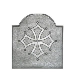 Plaque fonte cheminée décorée Croix du languedoc 59 x 65 cm